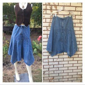 Y2K Asymmetrical Flared Denim Casual Skirt